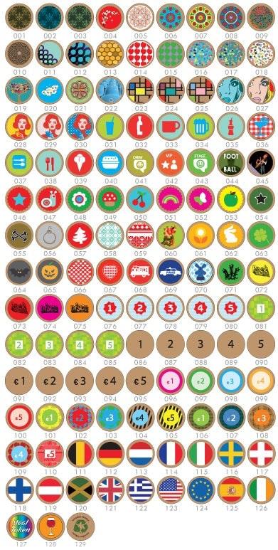 Standaardontwerpen die op houten munten bedrukt kunnen worden.